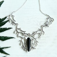 Black Titanium Raw Quartz Branches Necklace