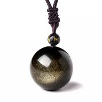 Gold Obsidian Single Bead Pendant Necklace